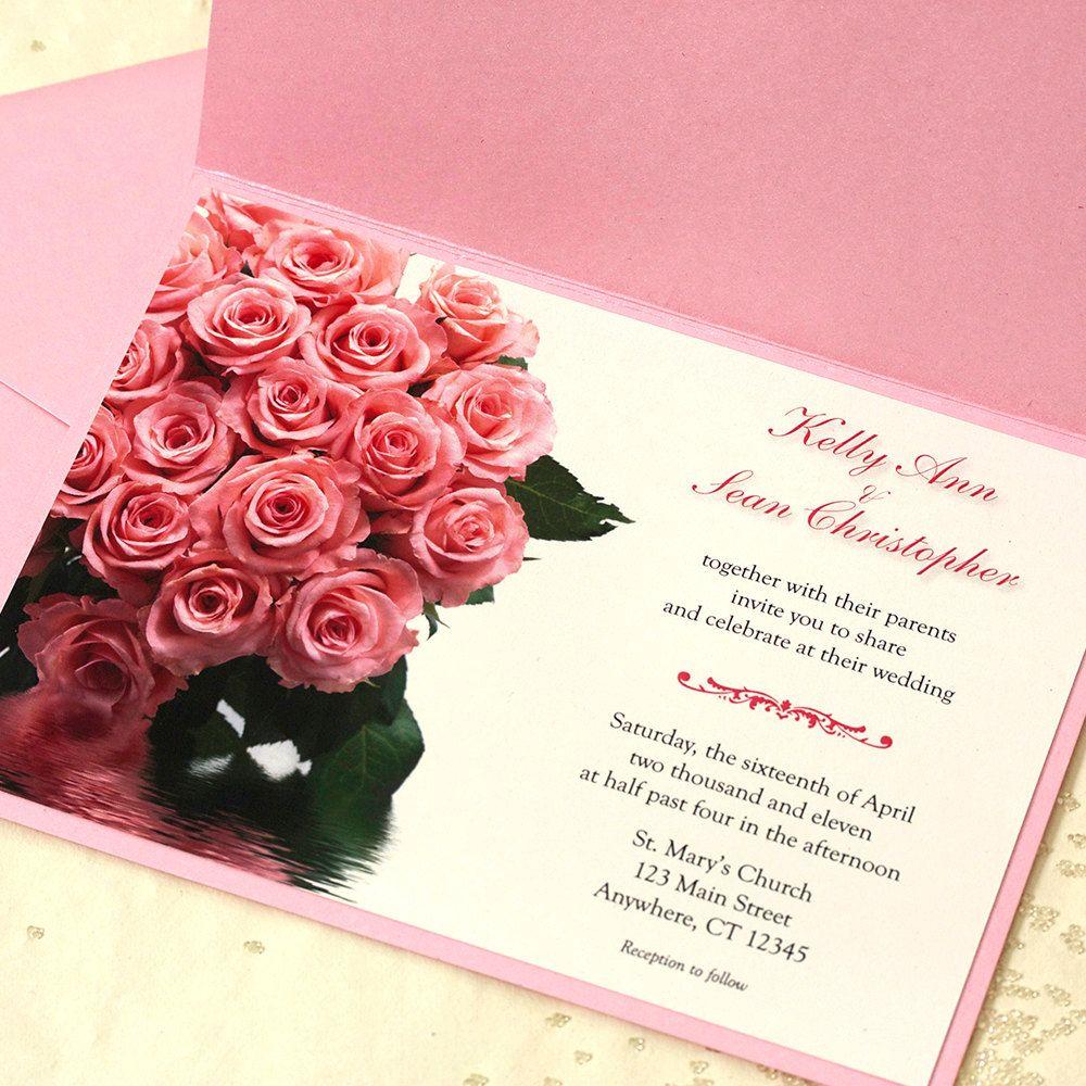 Pink Rose Wedding Invitation Pink Floral by willowglenstationery ...
