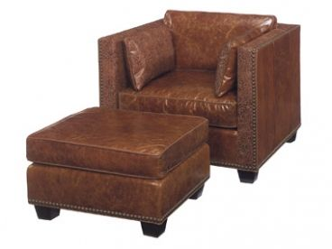 Marvelous Bucks County Leather Club Chair And Ottoman Distressed Ncnpc Chair Design For Home Ncnpcorg