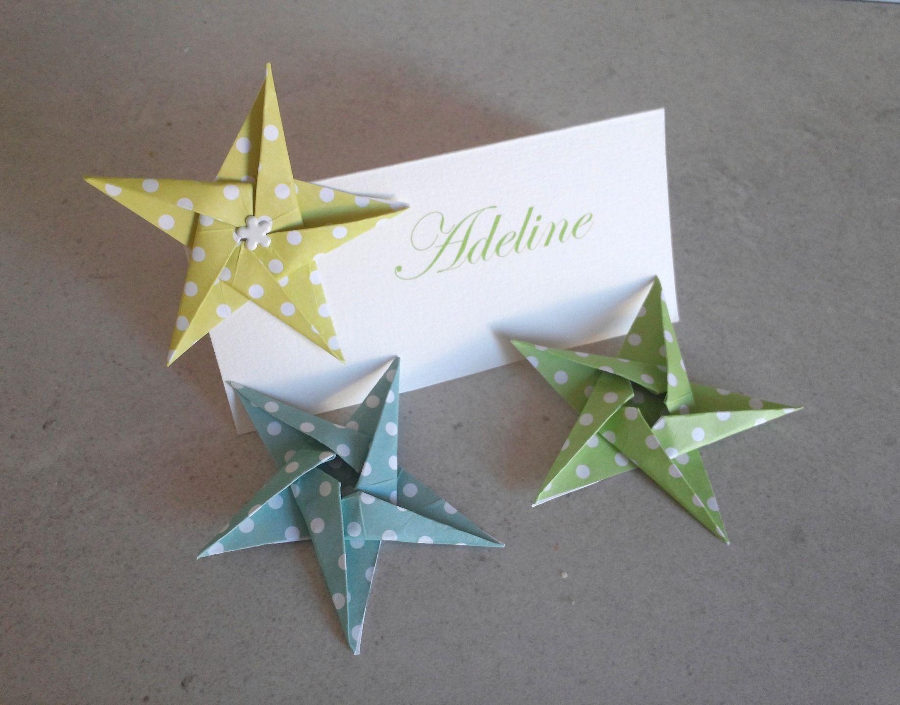10 marques place etoiles en origami vert pour mariage bapt me anniversaire d coration de. Black Bedroom Furniture Sets. Home Design Ideas