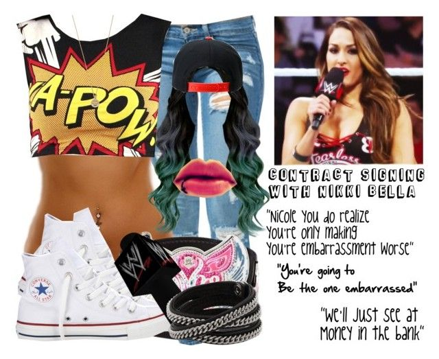 Contract Signing With Nikki Bella by black-onyxx on Polyvore featuring Converse, Vita, Bing Bang and OBEY Clothing