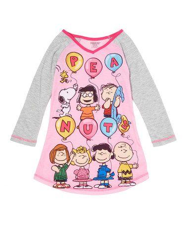 Look what I found on #zulily! Pink & Gray Peanuts Nightgown - Girls #zulilyfinds