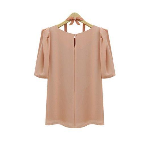 Envío gratis 2014 primavera verano nuevo elegante albaricoque manga corta con volantes de gasa blusa para mujer chica del tamaño s-xl 97702
