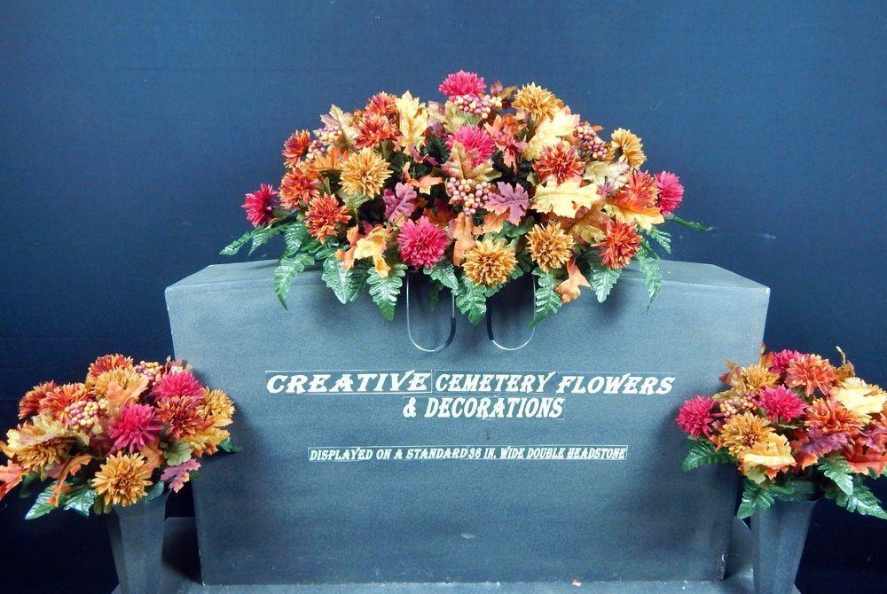Deluxe fall deluxe cemetery silk flower headstone saddlematching flower mightylinksfo