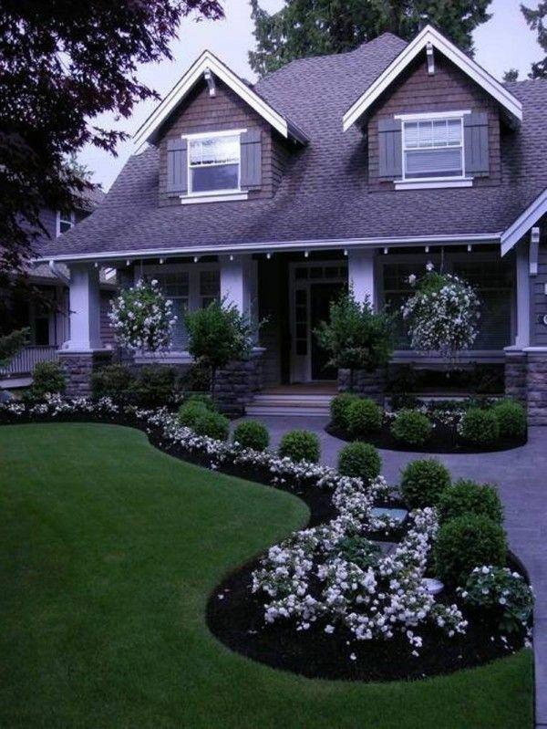 garten designideen vorgartengestaltung modern rasen pflanzen haus,