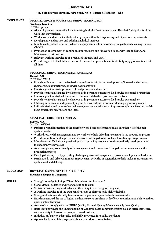 94 manufacturing resume templates mechanical engineering