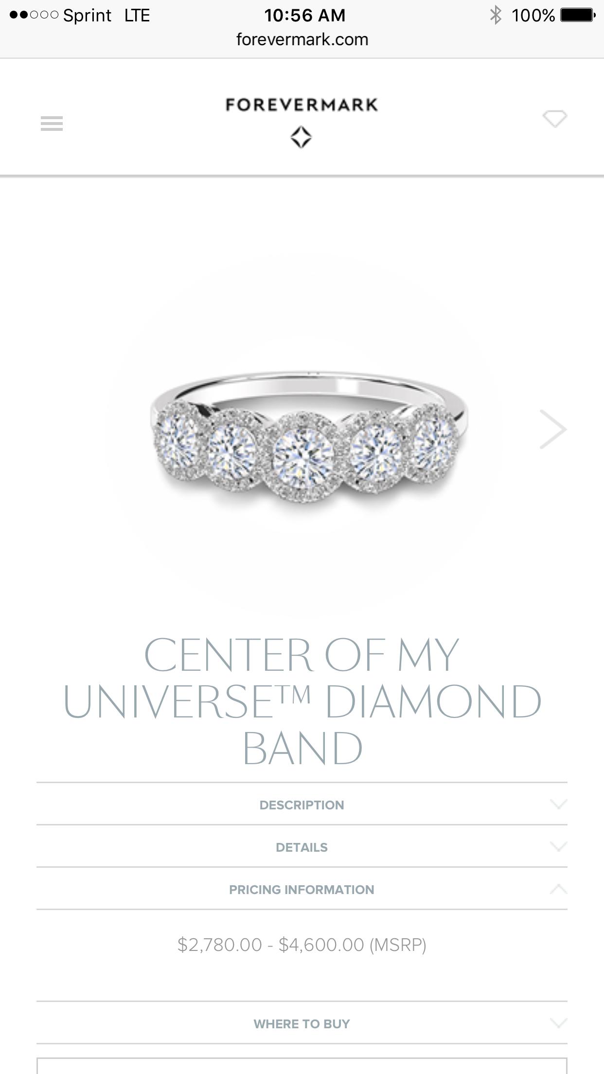 Forevermark Cwnter of My Universe Diamond Band-Anniversary Present??