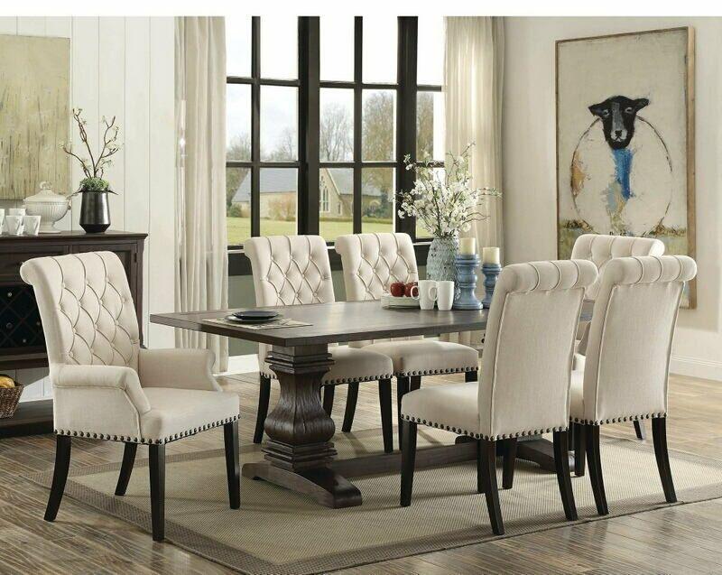 42+ Parkins rustic espresso 7 piece rectangular dining table set Best