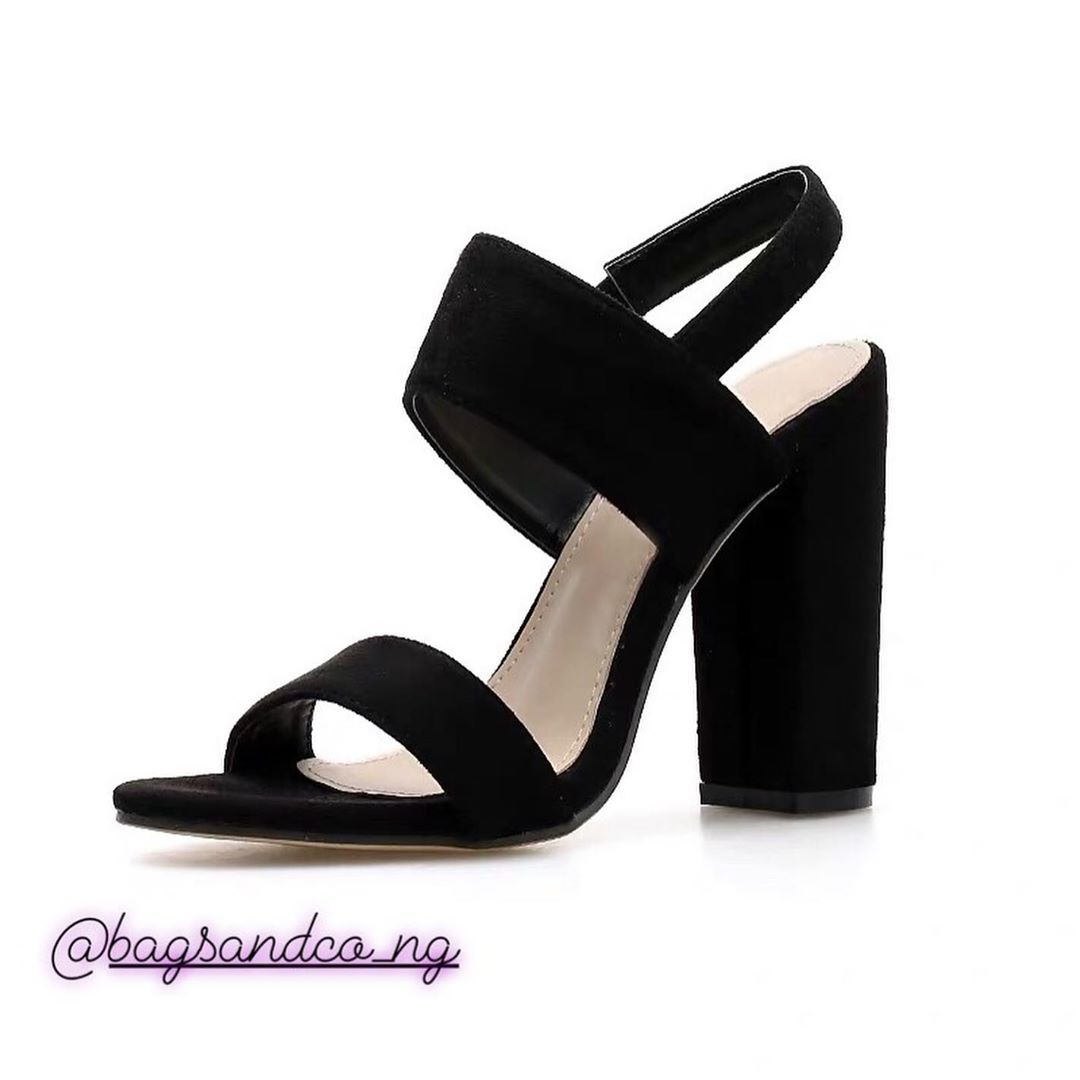 Black Suede Thick heels ..Available to order .Price: #10,000