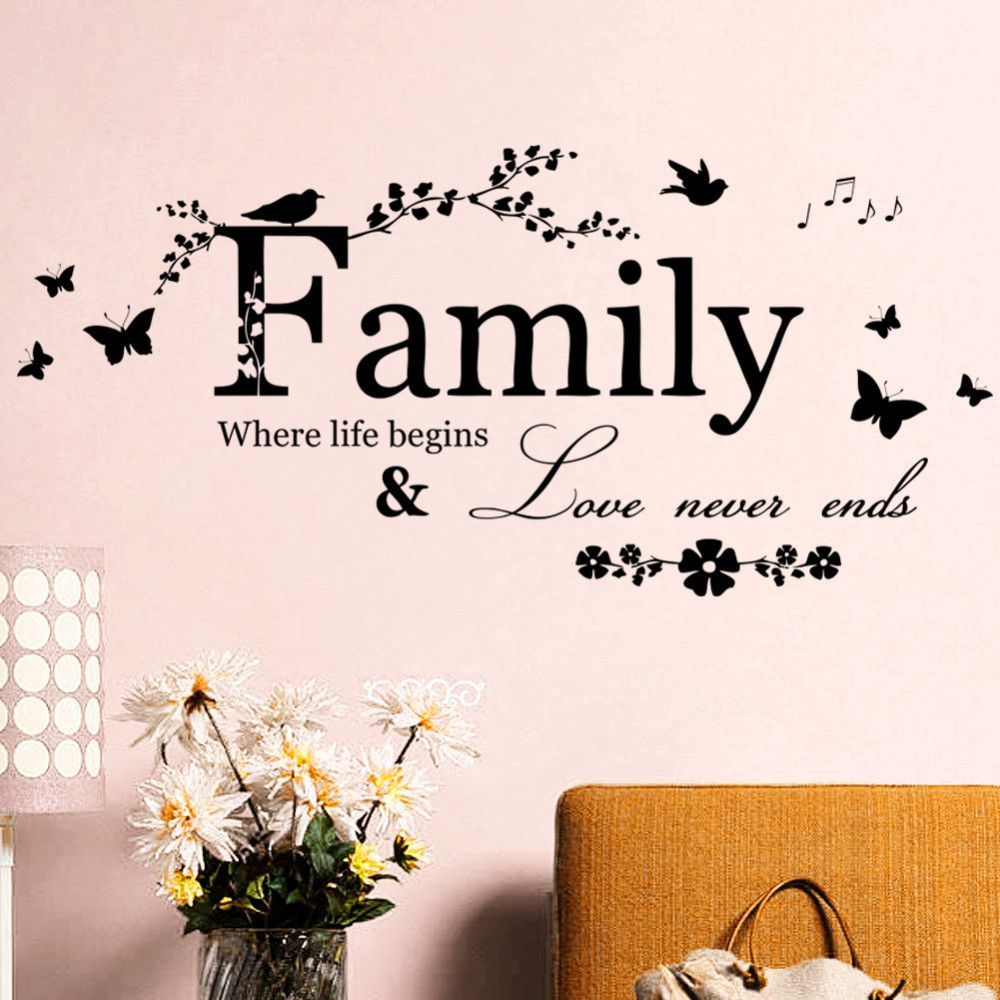 Wall decals quotes for living room family love never ends wall decals quotes for living room family love never amipublicfo Image collections
