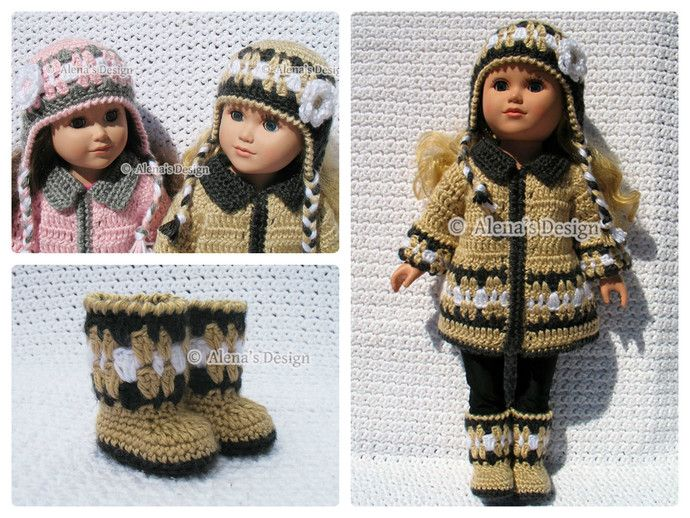 Crochet Pattern 3 PC Set for 18 in Doll - Crochet Patterns - Jacket, Boots and Ear Flap Hat for American Girl - 18 inch Dolls Outfit - AG