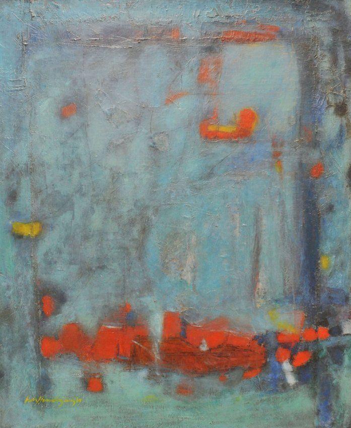 "Muro azul (1964) Luis Hernández Cruz Acrílico sobre lienzo 50 1/2"" x 42 1/2""."