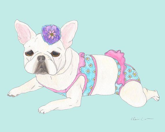 French Bulldog Art Print, Girly Art Prints, Funny Animal Art, Cute Dog Art Print, Dog Lover Gift, Frenchie Illustration, French Bulldog Gift by ChickenpantsStudio
