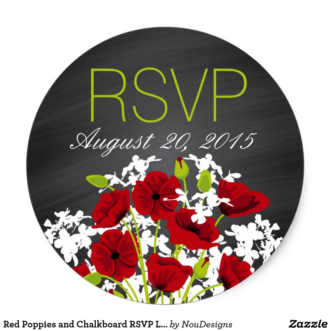 Red Poppies and Chalkboard RSVP Label   { Wedding Invitations ...