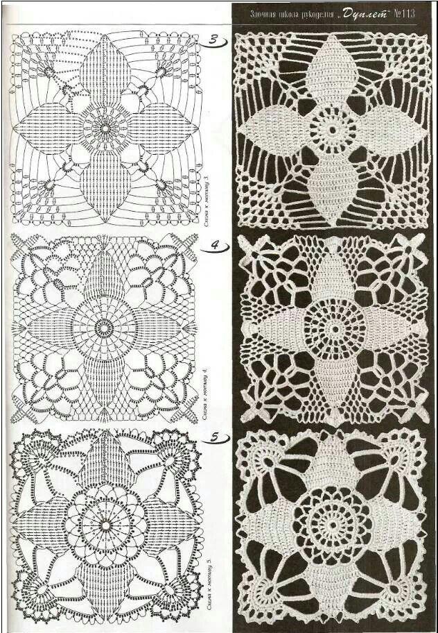 Motivos | Crochet | Pinterest | Cuadrados, Ganchillo y Tejido