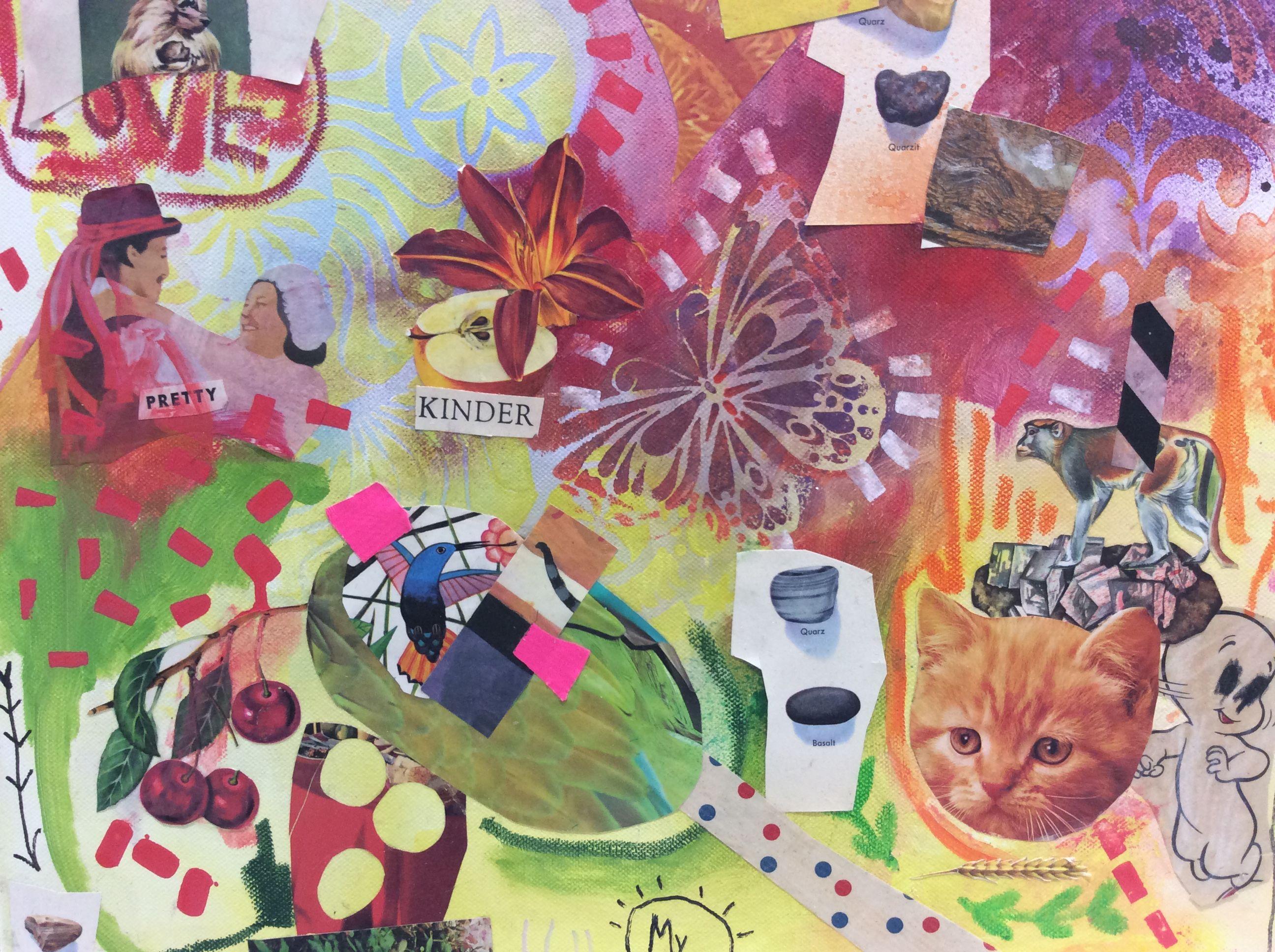 #mixed-media #collage mit #kreiden, #kreidestiften, #lackmarkern, #acrylmarkern und #acrylfarben