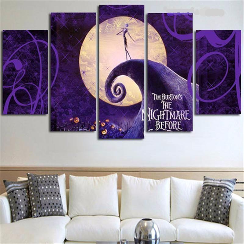 Nightmare Before Christmas Painting Modular Canvas Wall Art 5