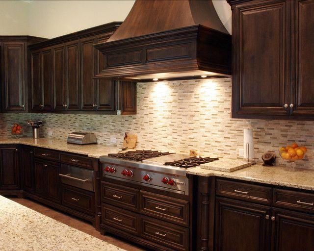 Dark Maple Kitchen Cabinets Qzjmxfa. Really like the vent. | Kitchen ...