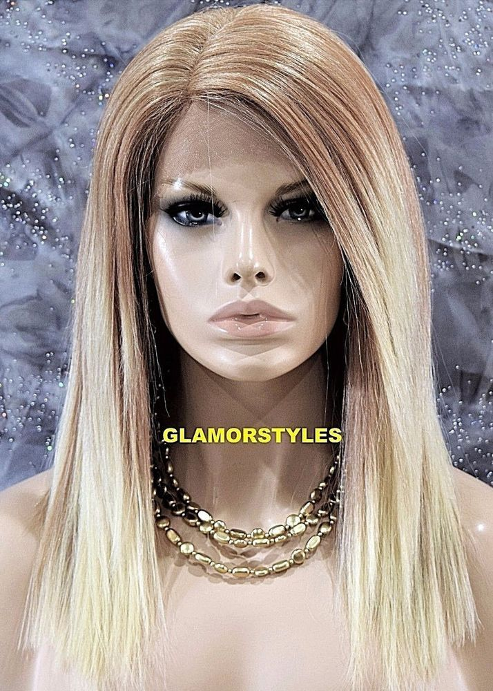 Straight Medium/Bleach Blonde Mix Lace Front Full Wig Heat