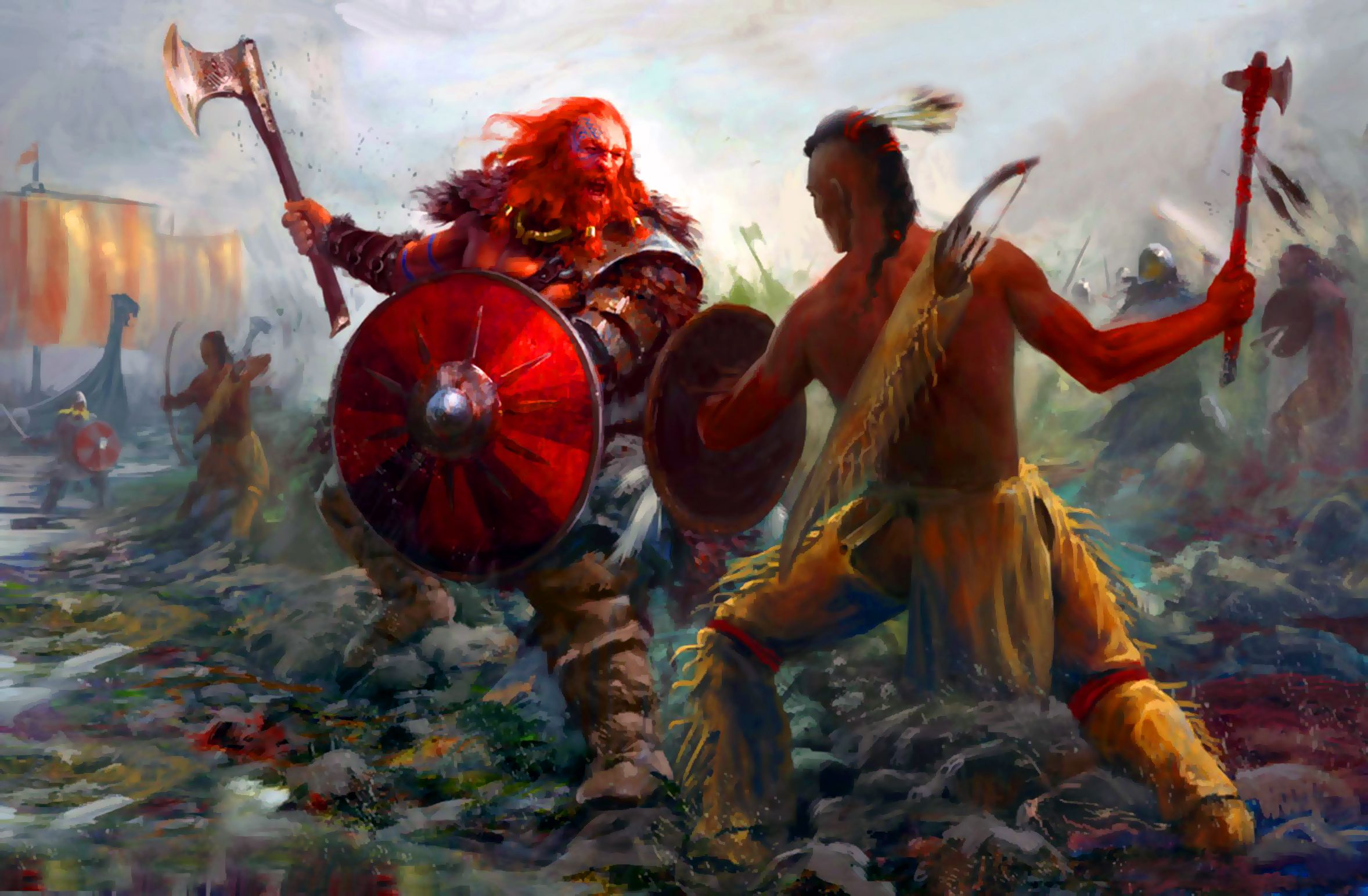 Viking Leif Erikson And Native American S In Combat On The