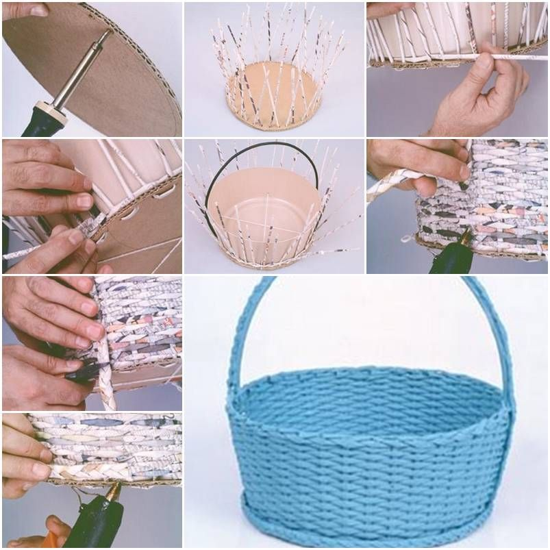 How To Make A Small Basket Weave Loom Bracelet : How to make simple newspaper basket step by diy