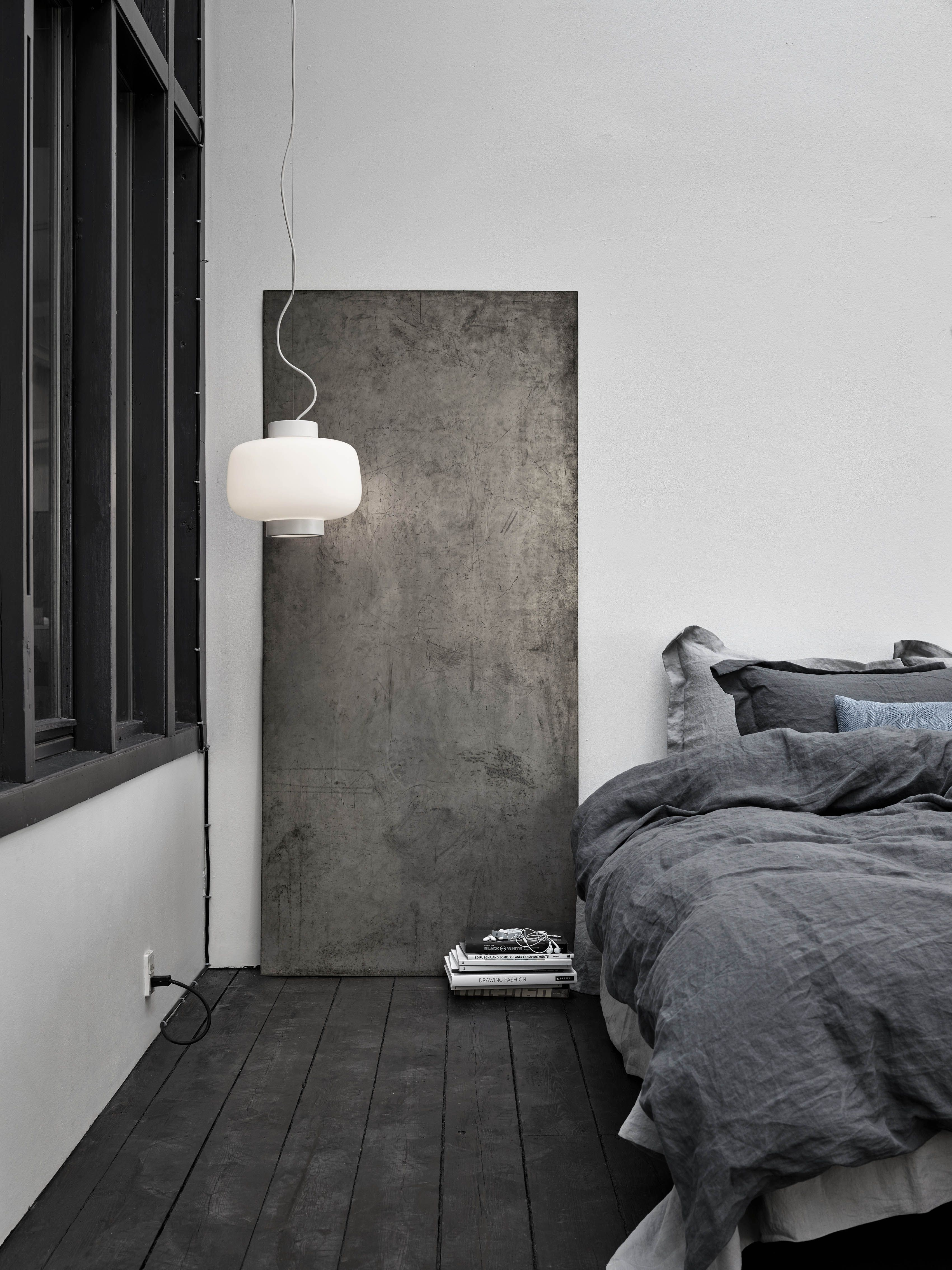 The Matte Black Floorboards, The Hues Of Dark And Light Grey Stonewashed  Linen On The