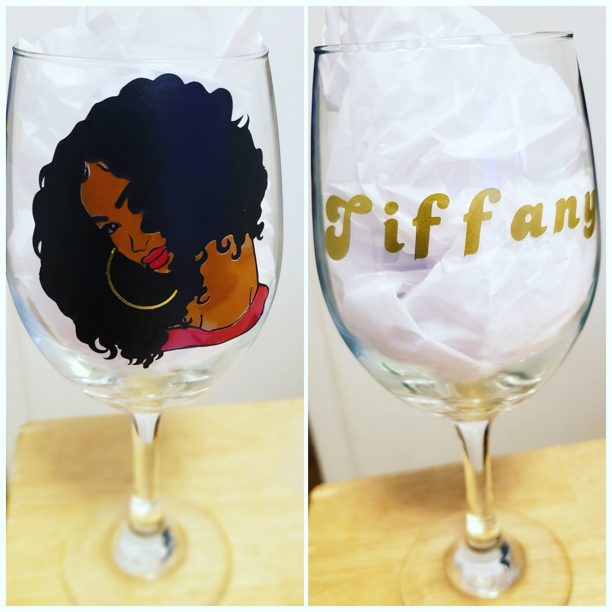 Personalized Wine Glass in Gift Box Black Woman African