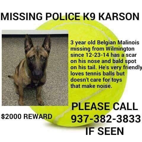 K9 Karson Ohio Yesterday Losing A Dog Belgian Malinois Find Pets