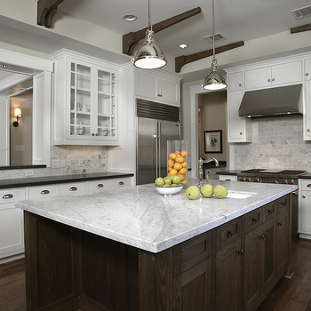 White Carrara Marble Countertop Transitional Kitchen Ashley