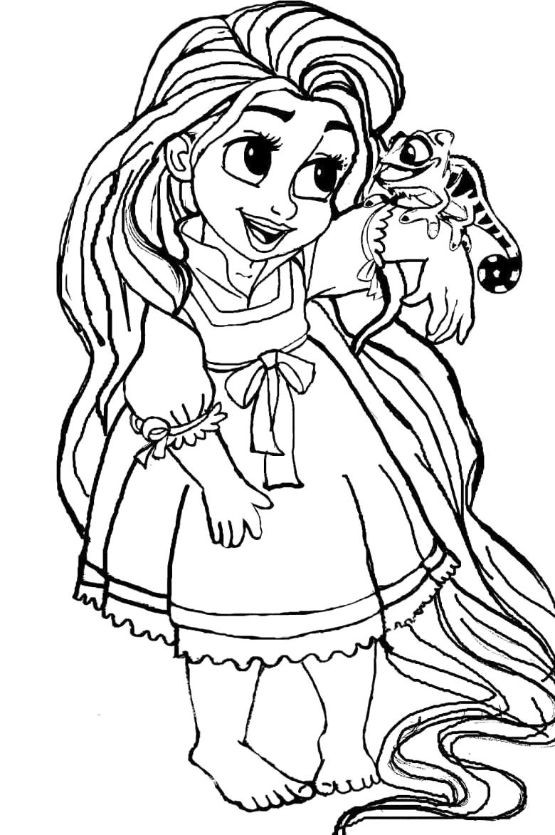 Princess Coloring Pages Baby Rapunzel Printable Within Disney At