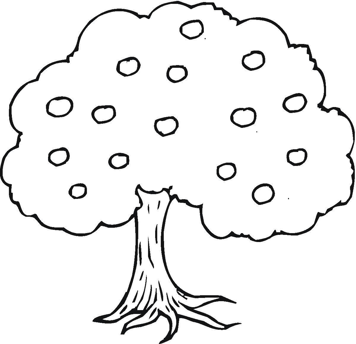 Apple Tree Free Coloring Book Page Preschool
