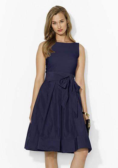 Lauren Ralph Lauren Jersey And Taffeta Dress Dresses