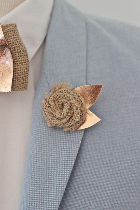Rose Gold burlap rose flower lapel pin,bow tie,rose gold