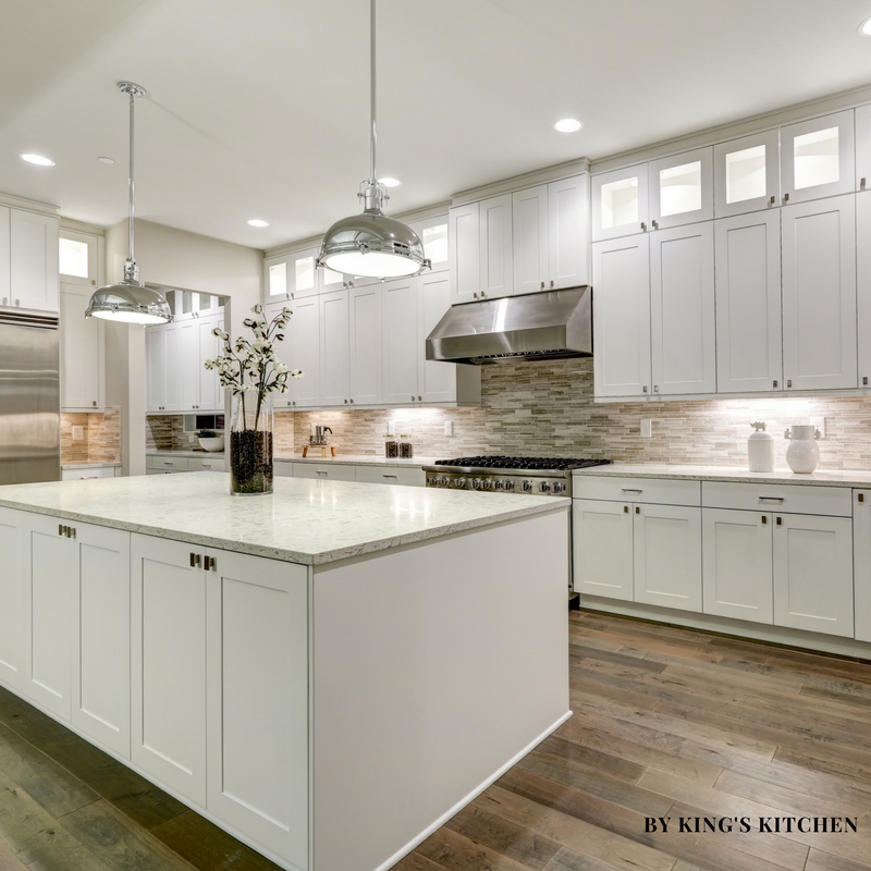 Beautiful White Shaker Kitchen Cabinets Combined With Light Quartz