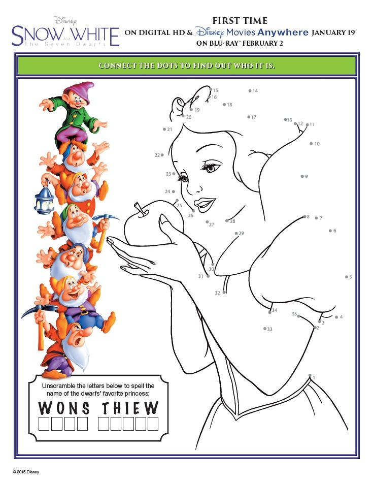 Snow White And The Seven Dwarfs Printable Activity Sheets With