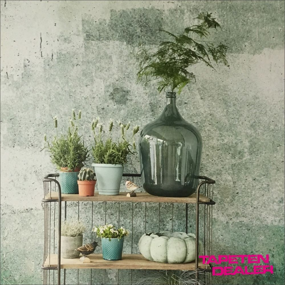 Eijfiinger Resource 369151 Wandbild / Betonwand Grün Metallic / 58,91 €/qm