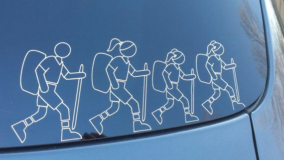 Customize Stick Family Hiker Family Vinyl bumper stickers personalized  hiking family car decals by LoveIndianaOutdoors on