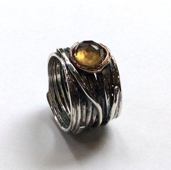 Citrine ring, gypsy ring, Silver engagement ring, wire wrap band, simple ring, hippie ring, bohemian ring, stone - Visions of you R2119
