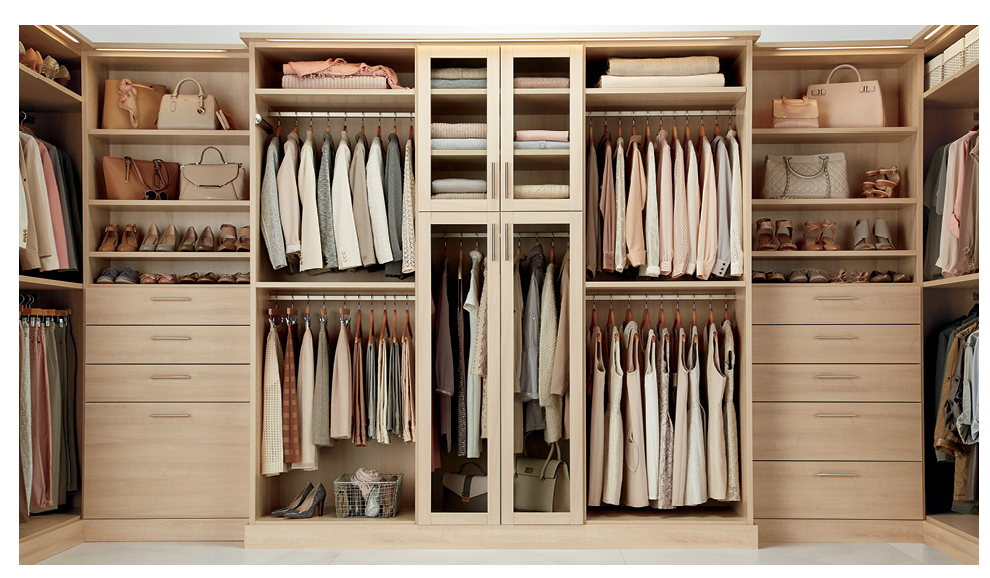 Layout for main master closet - each side...except open in the center without doors?  NEED SHOE SOLUTION