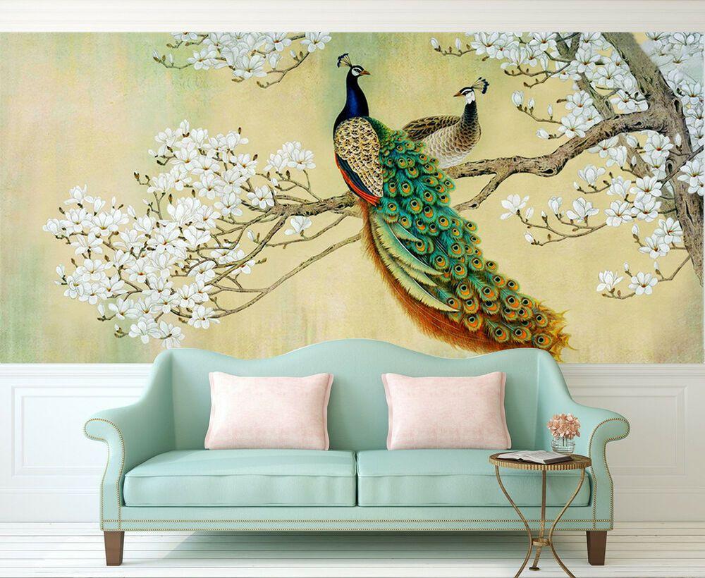 3d peacock 45 wallpaper murals wall print wallpaper mural on wall stickers 3d id=65993