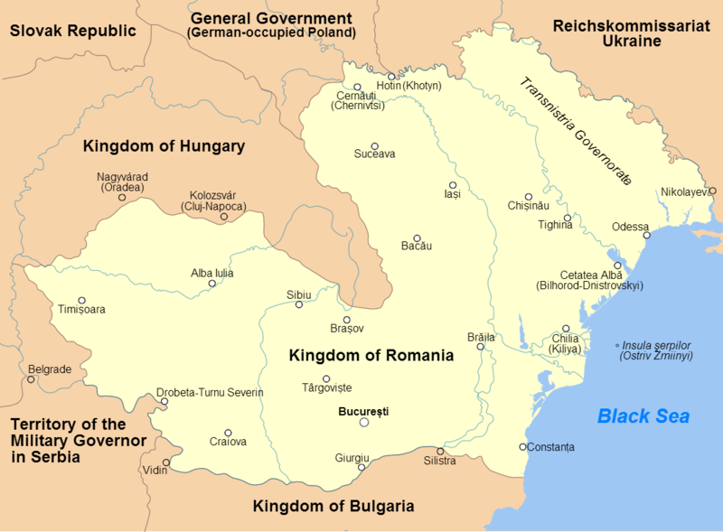 Greatest Extent Of Romania S Territorial Control During World War Ii