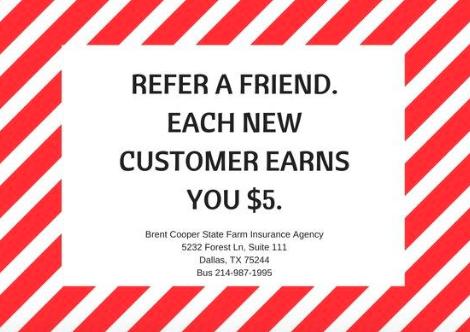 We Love Referrals! Each new customer earns you 5!