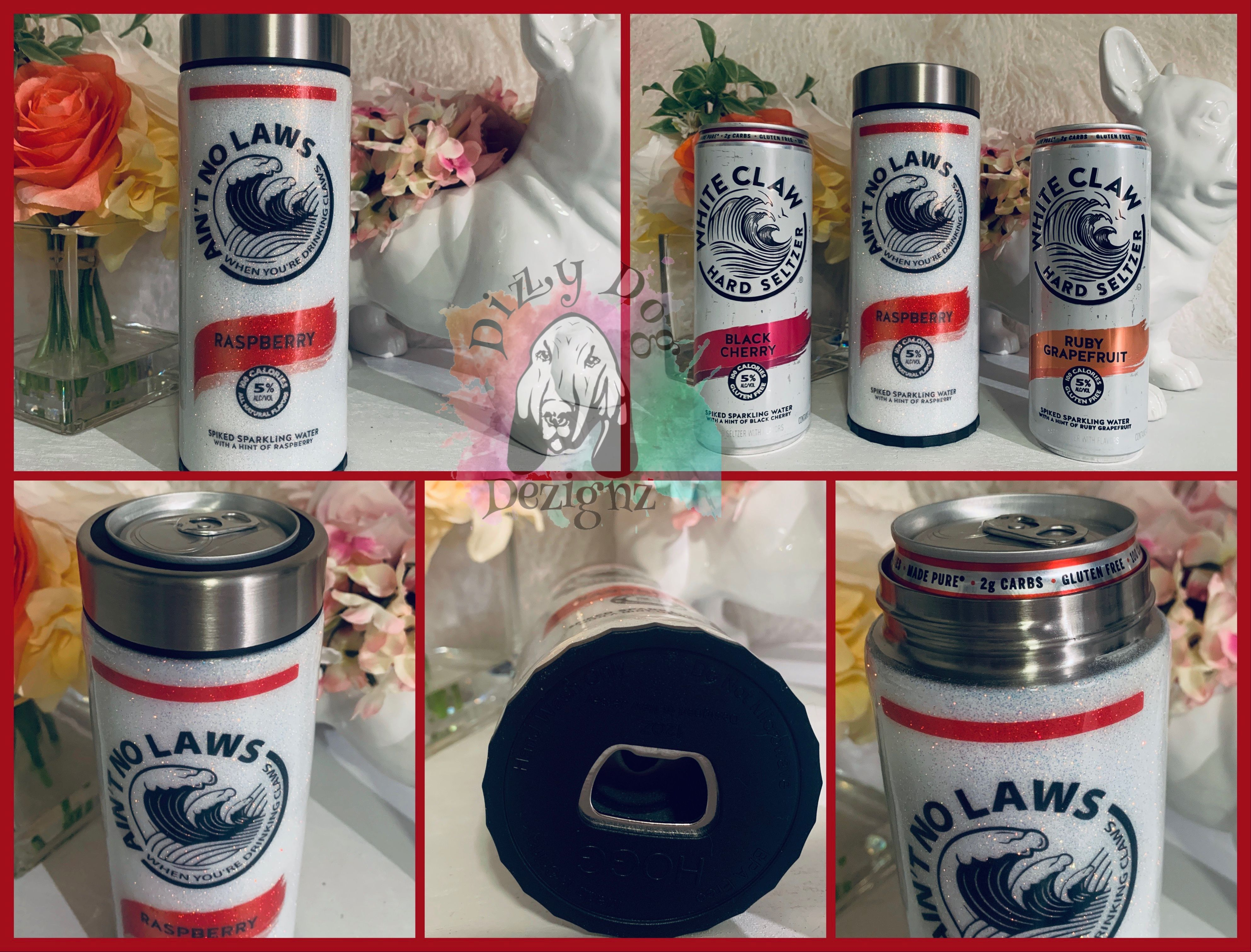 "Custom 12oz Skinny ""Ain't No Laws"" White Glitter Claw Can"