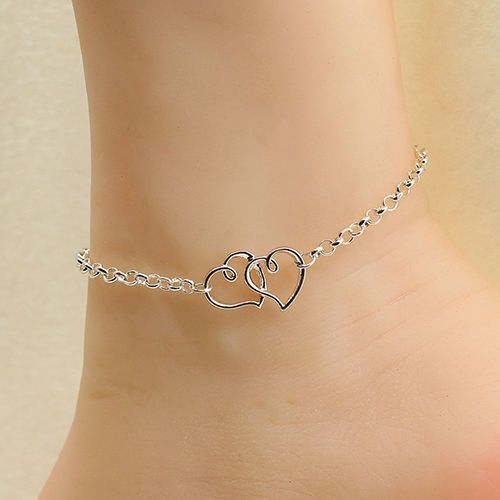 Jewelry Double Heart Anklet Ankle Chain Chain Bracelet