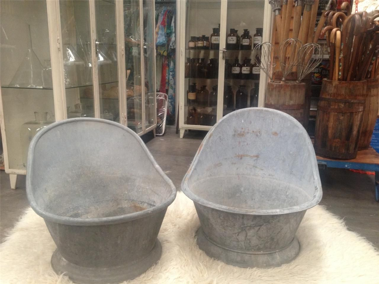 Vintage Industrial Antique French Galvanised Kids Bath Tub