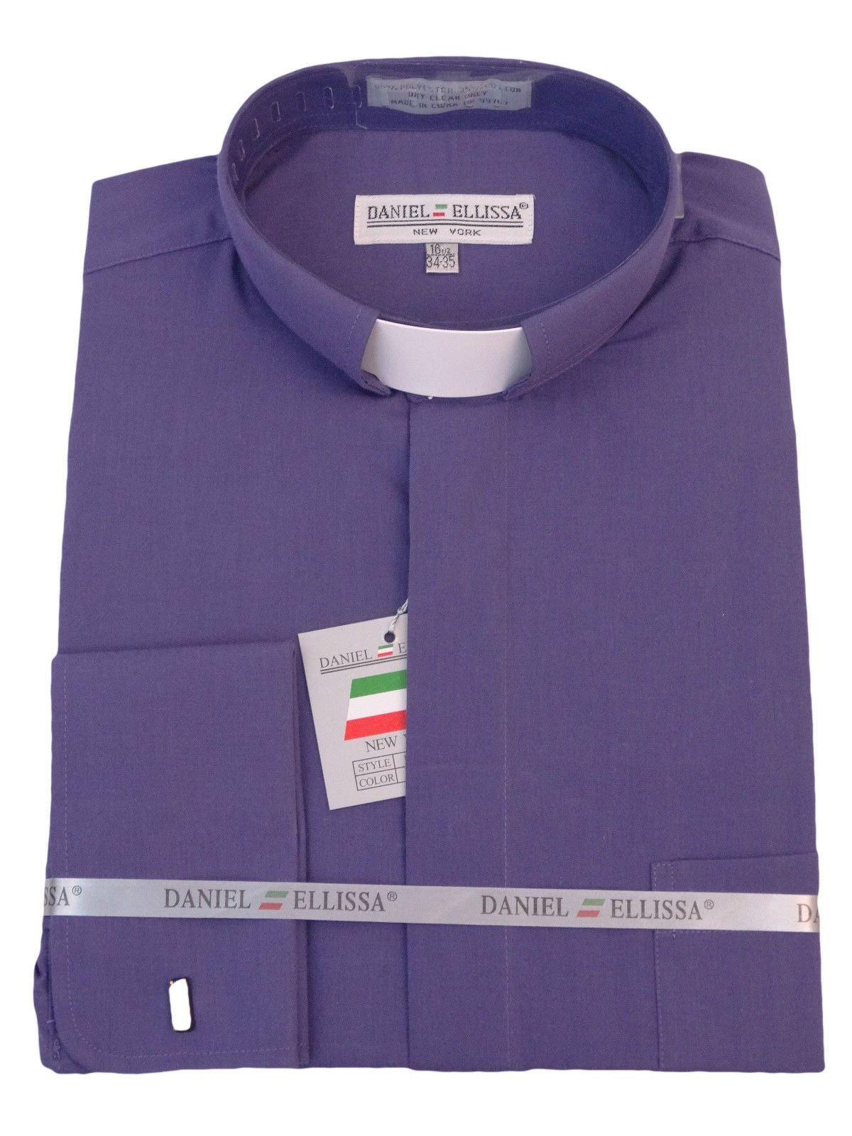 Mens Clergy Tab Collar Long Sleeve Dress Shirt Purple Frenchcuff