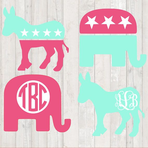 Democrat & Republican Logo Decal by SimpleNChicBoutique on Etsy
