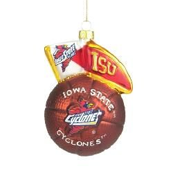 Iowa State Cyclones Blown Glass Christmas Tree Ornament