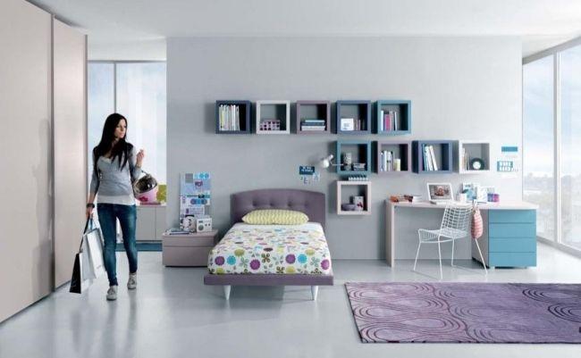 einrichtungsideen zimmer mädchen fliederfarbe blau wandregale, Schlafzimmer design