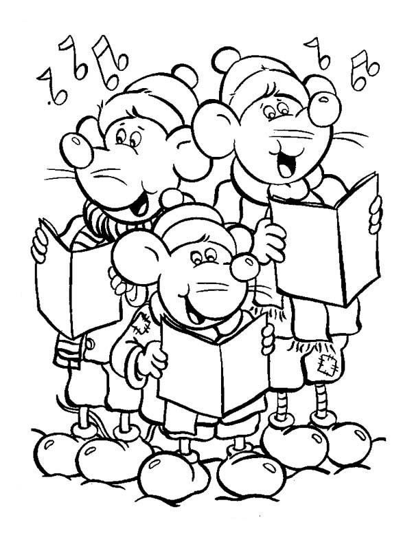 Three Little Mouse Singing Christmas Carols Coloring Page Download Print Online Printable Christmas Coloring Pages Christmas Music Coloring Coloring Pages