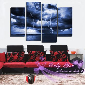 Modern Art Picture 2015 Newest Type Printed Canvas Painting With More Clouds Lightning Weather Wall Art Home Decoration